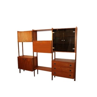 Danish Modern Three Bay Teak Wall Unit For Sale