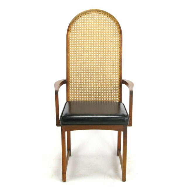 Four Milo Baughman Walnut & Cane Arch-Back Dining Chairs - Image 2 of 9