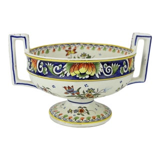 Early 20th Century Chambord François Hand-Painted Faience Urn For Sale