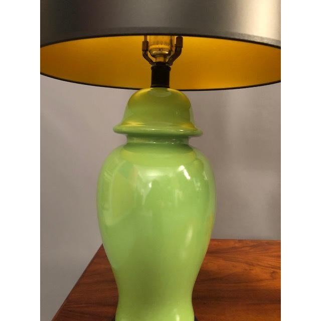 Asian Mid-Century Green Porcelain Table Lamps - a Pair For Sale - Image 3 of 9