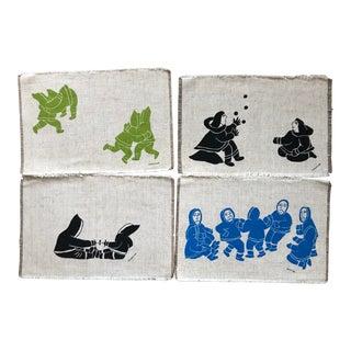 1970s Holman Inuit Inuit Art Print Burlap Placemats - Set of 4 For Sale