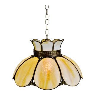 Vintage Cream & Caramel Swirl Slag Glass and Brass Pendant Chandelier Light For Sale