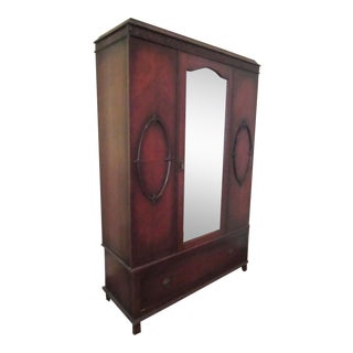 Antique English Wood Wardrobe Armoire For Sale