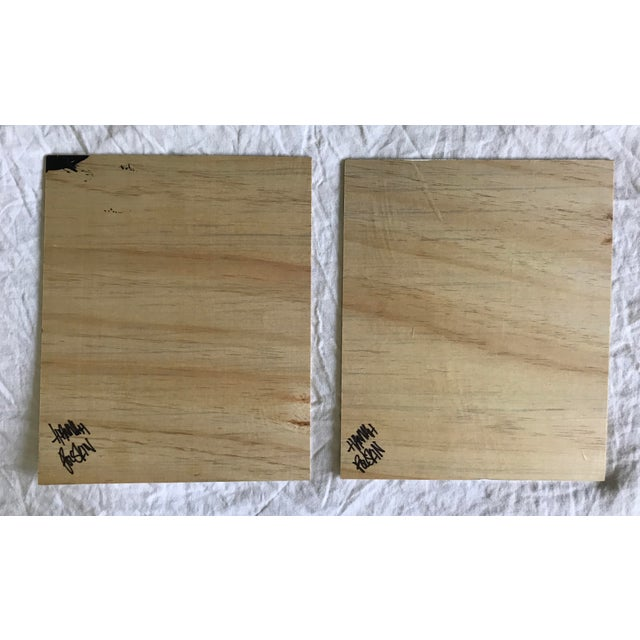 2010s Abstract Acrylic Friendship Duo on Plywood For Sale - Image 5 of 6