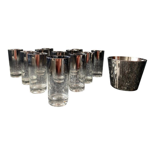 Silver Shade Down Cocktail Glasses & Ice Bucket - Set of 13 For Sale