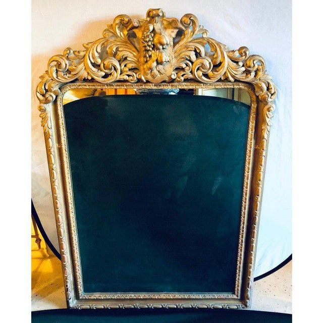 Rococo Large Carved Rococo Wall / Console Mirror W. Grape and Scroll Design For Sale - Image 3 of 12