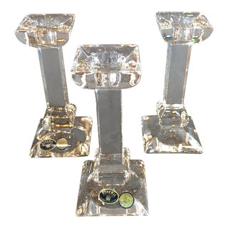 Late 20th Century Vintage Bohemia Matching Crystal Candle Holders- Set of 3 For Sale