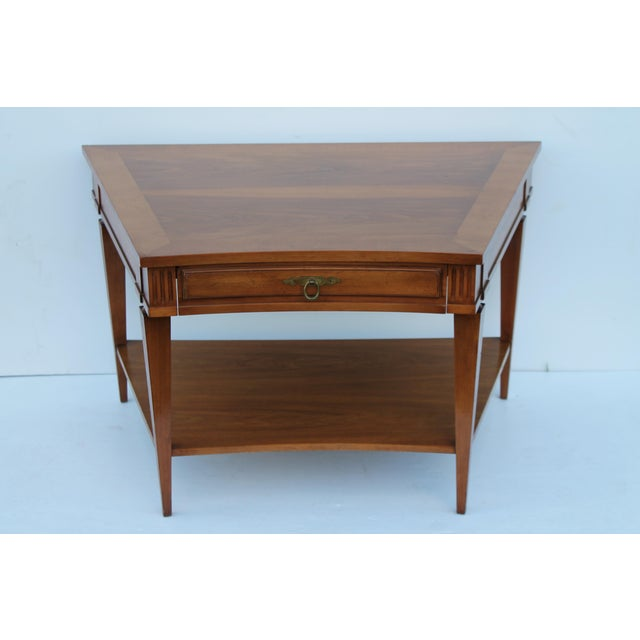 John Widdicomb Mid-Century Curved High End Walnut Accent Table - Image 11 of 11
