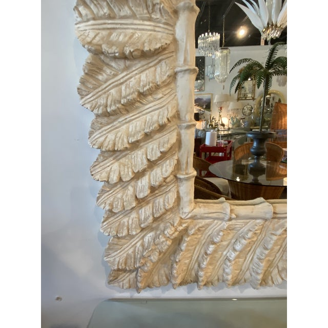 Cream Vintage Tropical Palm Tree Leaf Leaves Faux Bamboo Wall Mirror For Sale - Image 8 of 9