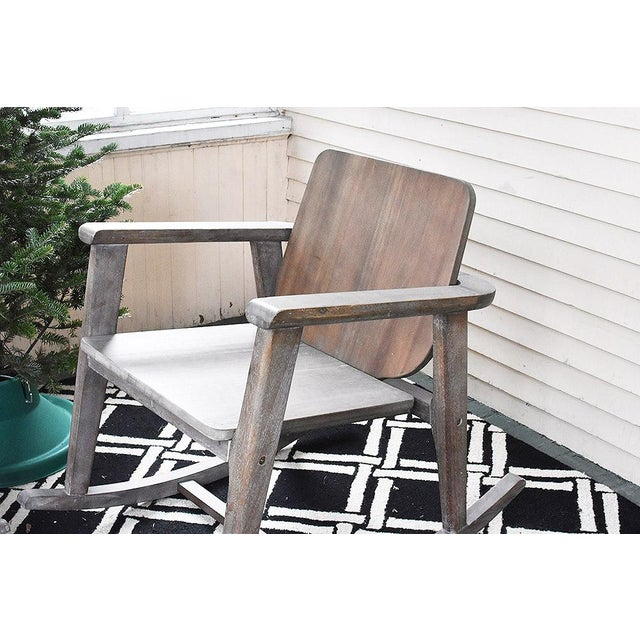CB2 Modern Gray Wooden Rocking Chair For Sale - Image 4 of 10