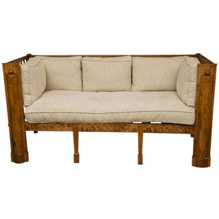 Stately Tiger Maple Biedermeier Sofa For Sale