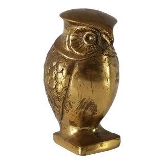 Vintage Mid-Century Modern Brass Owl Sculpture/Paperweight For Sale