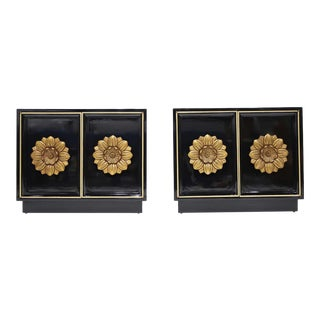 Pair of Lane Floral Chests in Black Laquer For Sale