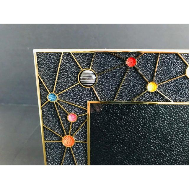 Fabio Ltd Shagreen With Multi-Color Stones Photo Frame by Fabio Ltd For Sale - Image 4 of 10