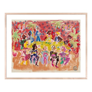 At a Dinner Party by Happy Menocal in Natural Maple Frame, Small Art Print For Sale