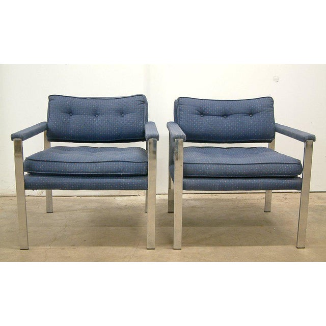 USA Circa 1970 A contract pair of stylish Milo Baughman lounge chairs for Thayer Coggin. The chairs have chrome plated...