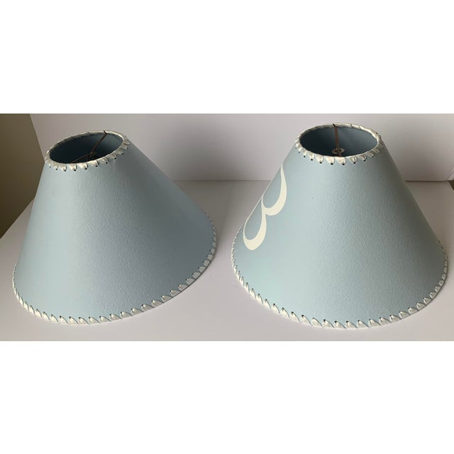 Light Blue B Monogram Lampshades - a Pair For Sale - Image 4 of 8