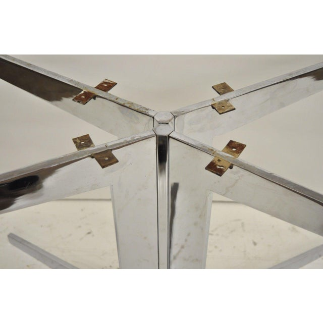 Chrome Mid-Century Modern Chrome Steel Double Star Pedestal Dining Table Bases - a Pair For Sale - Image 8 of 13