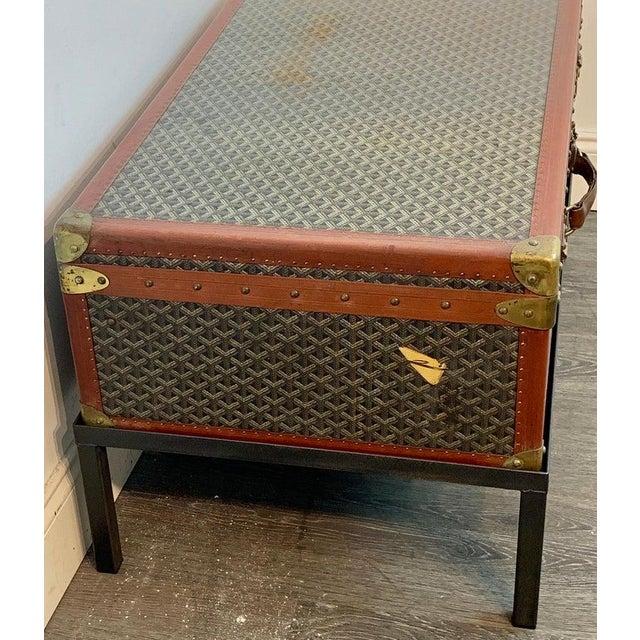 Vintage Goyard Hardcase Trunk on Iron Stand For Sale - Image 10 of 13