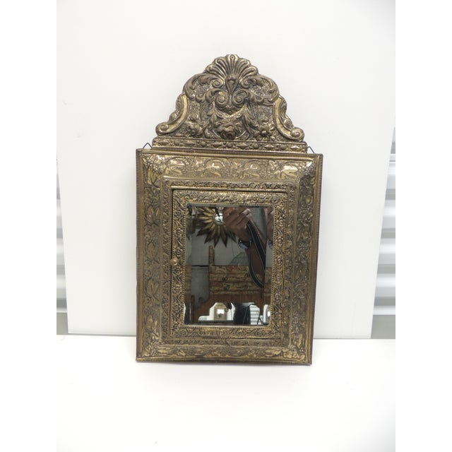 Gold Antique Repose Brass Vanity Reliquary with Mirrored Door and Coat Brushes For Sale - Image 8 of 8