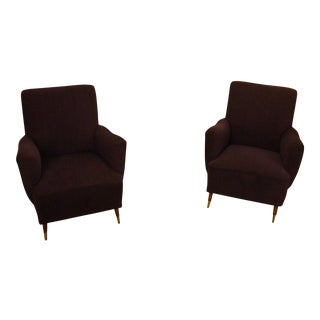 Gio Ponti Style Mid-Century Modern Lounge Armchairs- A Pair