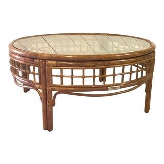 Round Rattan Mid Century Coffee Table For Sale