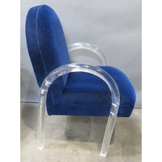 Cotton Pair of Pace Collection Lucite Waterfall Dining or Side Chairs Circa 1980 For Sale - Image 7 of 12