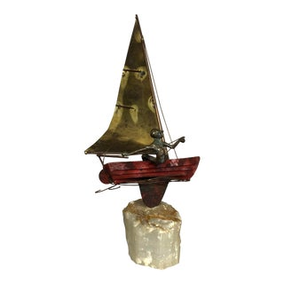 Original Curtis Jere Signed Bronze and Stone Sailboat Sculpture For Sale