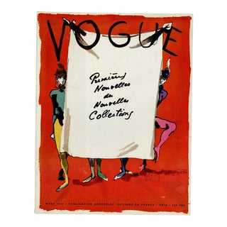 """Vogue Paris, March 1949"" Original Vintage Fashion Magazine Cover For Sale"