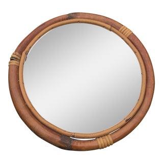 Vintage Bohemian Rattan Round Mirror