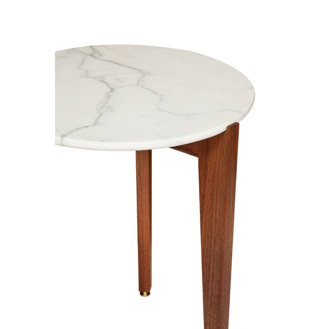 Modern Stillmade Walnut Tripod Side Table with Calcutta Marble Top For Sale - Image 3 of 4
