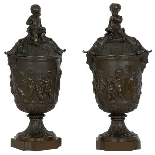 19th Century Pair of Napoleon III Grand Tour Bronze Urns W/ Putto in Manner of Clodion For Sale