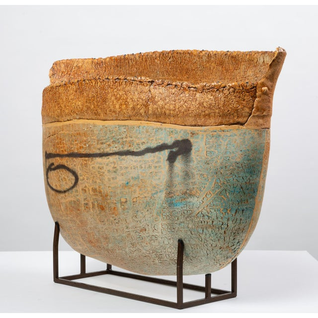 Abstract Ceramic Art Vessel With Mount by Jim Kraft For Sale - Image 3 of 12