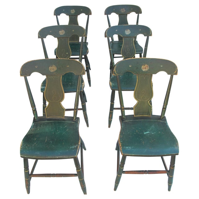 Antique Painted Pennsylvania Plank Chairs - S/6 - Image 1 of 11