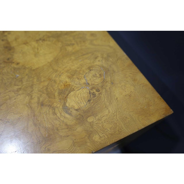 Brown Milo Baughman Olivewood Burl Parsons Dining Table For Sale - Image 8 of 13