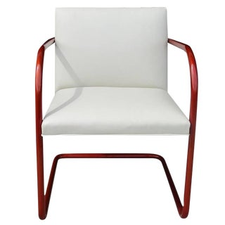 1970s Vintage Ivory Leather Copper Frame Tubular Knoll Brno Chair For Sale