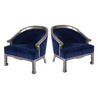 1970s Pair of Chinoiserie Silver Barrel Back Blue Velvet Upholstered Armchairs For Sale