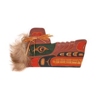 Cecil Dawson Native Northwest Grizzly Bear Painted Wood Carving, Signed For Sale