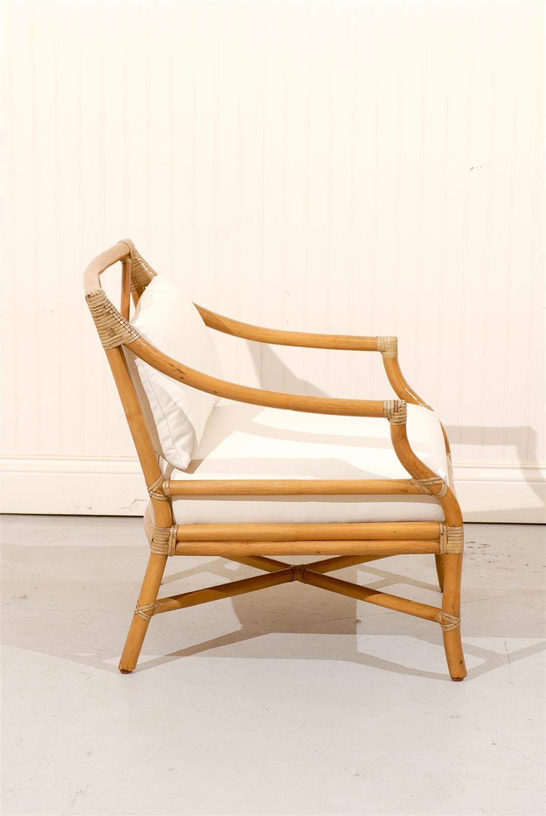 Beautiful Pair Of Vintage Bamboo Target Back Lounge Chairs By McGuire    Image 5 Of 10
