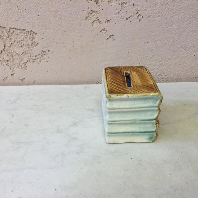 French Majolica Onnaing Book Money Bank Box Circa 1900 For Sale - Image 3 of 6