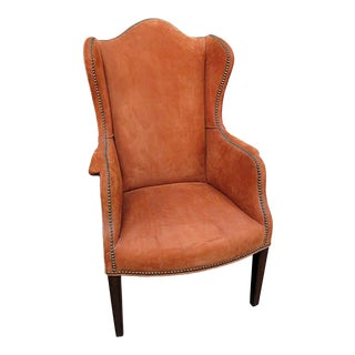 Orange Suede Wingback Chair For Sale