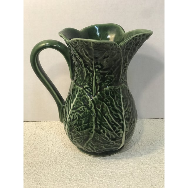 Ceramic Vintage Green Cabbage Majolica Pitcher For Sale - Image 7 of 7