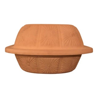 Vintage Terra Cotta Clay Baker Dish For Sale