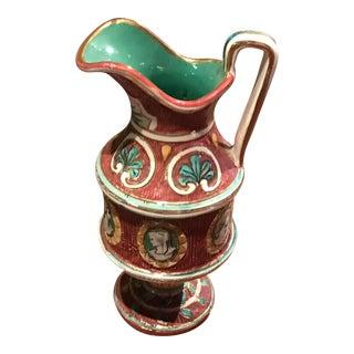 "Deruta Italian ""Cameo"" Pitcher/Vase For Sale"