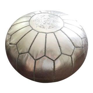 Moroccan Silver Metallic Pouf Ottoman For Sale