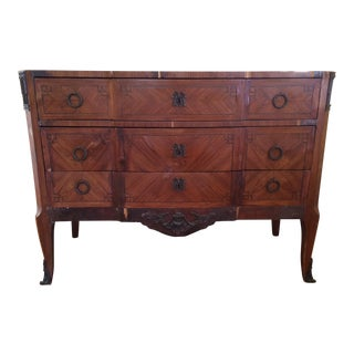 19th Century Louis XVI Marquetry and Marble Top Commode For Sale