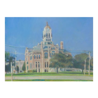 Original Painting of Franklin County Courthouse, Iowa by Frje Echeverria For Sale