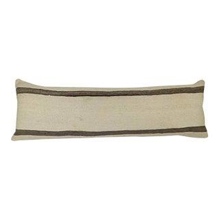 "Queen Boho Woven Bench Kilim Pillow Cover, Farmhouse Bed Decor, 19th Century Embroidery Long Bolster Lumbar Kilim Pillow 16"" X 48"" (40 X 120 Cm) For Sale"