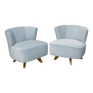 Light Blue Velvet Swivel Chairs - A Pair