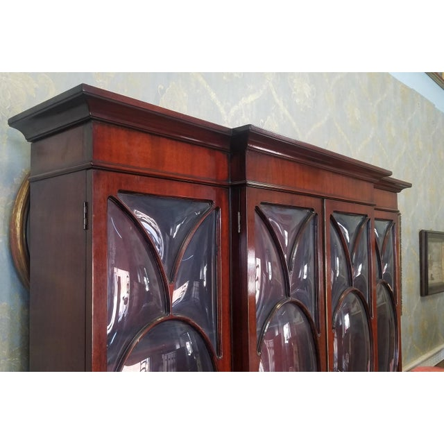 Very Good 1940s Inlaid & Banded Mahogany Living Room Breakfront China Cabinet For Sale - Image 5 of 11